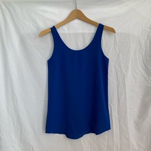 Royal Blue Chiffon Relaxed Fit Scoop Neck Tank Top